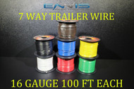 16 GAUGE WIRE ENNIS ELECTRONICS 7 WAY TRAILER LIGHT 100 FT SPOOLS PRIMARY CABLE