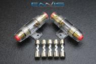 (2) AGU FUSE HOLDER W/ (5) 5 AMP 4 6 8 10 GAUGE IN LINE GLASS AWG WIRE NICKEL