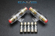 (2) AGU FUSE HOLDER W/ (5) 35 AMP 4 6 8 10 GAUGE IN LINE GLASS AWG WIRE NICKEL