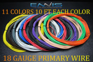 18 GAUGE WIRE 110 FT ENNIS ELECTRONICS 10 FT EA 11 COLORS AWG COPPER CLAD