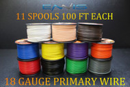 18 GAUGE WIRE 1100 FT ENNIS ELECTRONICS 100 FT SPOOLS 11 COLORS AWG COPPER CLAD