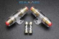 (2) AGU FUSE HOLDER W/ (2) 5 AMP 4 6 8 10 GAUGE IN LINE GLASS AWG WIRE NICKEL