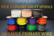 18 GAUGE WIRE ENNIS ELECTRONICS 100 FT SPOOLS PRIMARY AWG COPPER CLAD 3 ROLLS