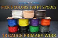 18 GAUGE WIRE ENNIS ELECTRONICS 100 FT SPOOLS PRIMARY AWG COPPER CLAD 5 ROLLS