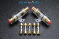 (2) AGU FUSE HOLDER W/ (5) 100 AMP 4 6 8 10 GAUGE IN LINE GLASS AWG WIRE GOLD
