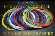 18 GAUGE WIRE ENNIS ELECTRONICS 25 FT EACH PRIMARY CABLE AWG COPPER CLAD 3 ROLLS