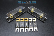 (2) PACK 0 2 4 6 8 GAUGE ANL FUSE HOLDER W/ 5PK 80 AMP GOLD WAFER FUSES WIRE AWG