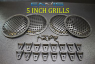(4) 5 INCH STEEL SPEAKER SUB SUBWOOFER GRILL MESH COVER W/ CLIPS SCREWS GR-5