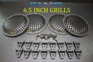 (4) 6.5 INCH STEEL SPEAKER SUB SUBWOOFER GRILL MESH COVER W/ CLIPS SCREWS GR-6.5