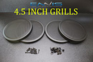 (4) 4.5 INCH STEEL SPEAKER SUB SUBWOOFER GRILL FINE MESH W/ CLIPS SCREWS GT-4.5