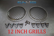 2 12 INCH STEEL SPEAKER SUB SUBWOOFER GRILL MESH COVER W/ CLIPS SCREWS FAST SHIP