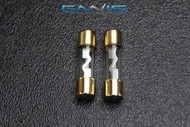 2 PACK 50 AMP AGU FUSE FUSES GOLD PLATED INLINE HIGH QUALITY GLASS NEW AGU50