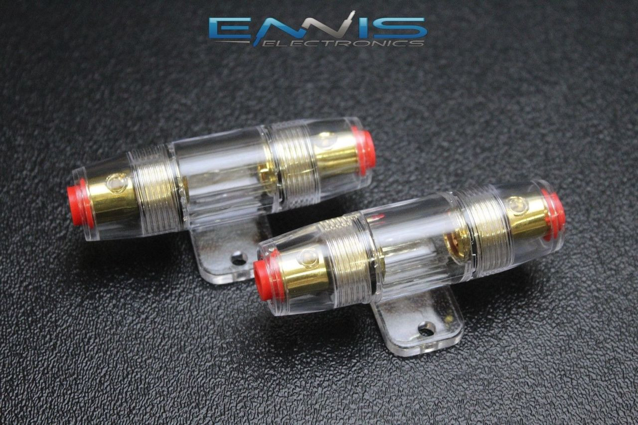 2 5 80 AMP 4 6 8 10 GAUGE IN LINE GLASS AWG WIRE GOLD AGU FUSE HOLDER W//