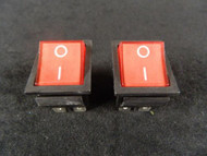 2 PACK ROCKER SWITCH RED LED DPST ON OFF 15 AMP 250 V 20 AMP 125 V 6 PIN EC-620