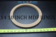 4 MDF SPEAKER RINGS SPACER 10 INCH WOOD 3/4 THICK FIBERGLASS BOX EE-RING-10R