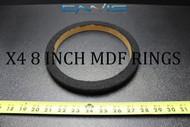4 MDF SPEAKER RINGS SPACER 8 IN CARPET WOOD 3/4 FIBERGLASS ENCLOSURE RING-08CBK