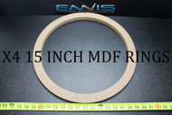 4 MDF SPEAKER RINGS SPACER 15 INCH WOOD 3/4 THICK FIBERGLASS BOX EE-RING-15RX4
