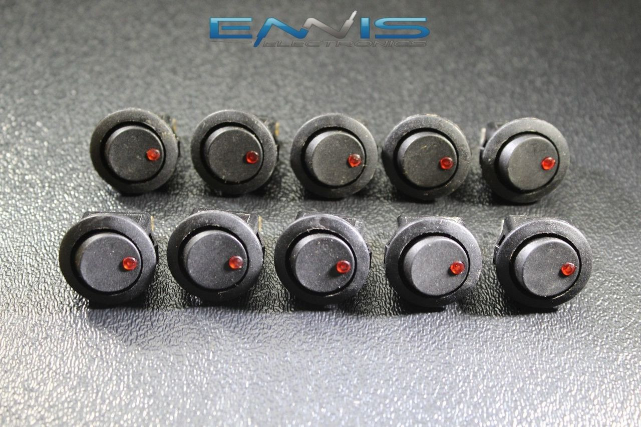 5 PCS ROCKER SWITCH ON OFF RED TOGGLE LED 12V 16 AMP 3 PIN IS-EC-RS1216RED