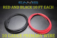 10 GAUGE WIRE 20 FT ENNIS ELECTRONICS 10 RED 10 BLACK PRIMARY AWG COPPER CLAD