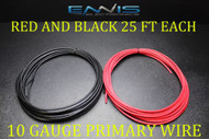 10 GAUGE WIRE 50 FT ENNIS ELECTRONICS 25 RED 25 BLACK PRIMARY AWG COPPER CLAD
