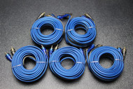 5 PCS 20 FT RCA WIRE BLUE GRAY 2 CHANNEL CAR AMP HOME AUDIO STEREO BLS-20