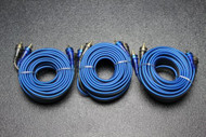 3 PCS 17 FT RCA WIRE BLUE GRAY 2 CHANNEL CAR AMP HOME AUDIO STEREO BLS-17