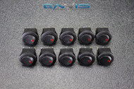 10 PCS ROUND ON OFF ROCKER SWITCH MINI TOGGLE RED LED 3/4 MOUNT HOLE EC-1103ARD