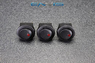 3 PCS ROUND ON OFF ROCKER SWITCH MINI TOGGLE RED LED 3/4 MOUNT HOLE EC-1103ARD