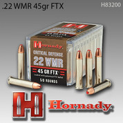 Hornady 83200: .22WMR 45gr FTX 50/Box Critical Defense