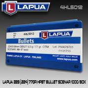 Lapua 4HL5012: 223 (.224) 77gr HPBT Bullet Scenar 1000/Box