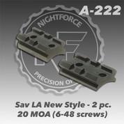 NightForce A222: Sav LA New Style - 2 pc. 20 MOA (6-48 screws)