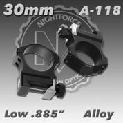 """Nightforce A118: .885"""" Low 30mm Ultralite Rings"""