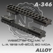 Nightforce A346: Weatherby MK V LA 1913 Mil-Std, 20 MOA, Blk