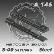 Nightforce A146: HS 700 S/A 1pc 20 MOA (8-40 screws)