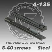 Nightforce A135: HS 700 L/A 1pc 20 MOA Base (8-40 screws)