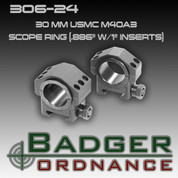 "Badger Ordnance 306-24: 30mm USMC M40A3 Scope Ring (.886"" w/1"" Inserts)"