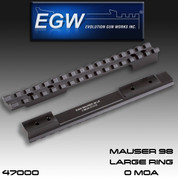 EGW 47000: Mauser 98 Large Ring Picatinny Rail Scope Mount 0 MOA