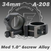 "Nightforce A208: 1.00"" Medium 34mm Ultralite 6 Screw Rings"