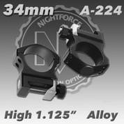 "Nightforce A224: 1.125"" High 34mm Ultralite Rings"