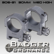 "Badger Ordnance 306-21: Medium High 30mm Ring 1.0"" High"