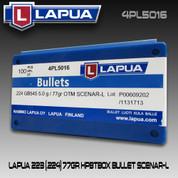 Lapua 4PL5016: 22 cal (.223/.224) 77gr Scenar Lockbase 100/Box