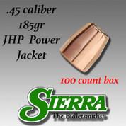 Sierra Bullets 8800: .45 CAL 185gr JHP 100/Box