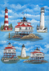 Delmarva Lighthouses House Flag - 9057FL - Custom Decor - christophersgiftshop.com