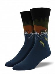 Gone Fishing River Blue Mens Socks