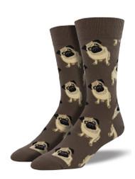 Pugs Brown Mens Socks
