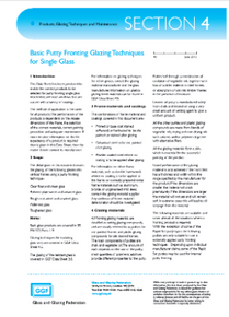 Section 4 - Products, Glazing Techniques and Maintenance:  Basic Putty Fronting Glazing Techniques for Single Glazing (ref: 4.1)