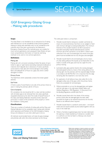 Section 5 - Special Applications:  GGF Registered Emergency Glazing Group – Making safe procedures (ref: 5.1.1)