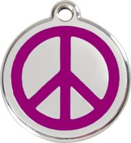Red Dingo Stainless Steel and Enamel Pet ID Tag - Peace