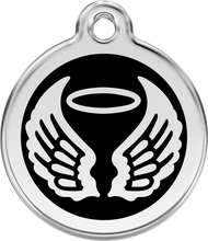 Red Dingo Stainless Steel and Enamel Pet ID Tag - Angel Wings