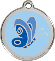 Red Dingo Stainless Steel and Enamel Pet ID Tag - Butterfly